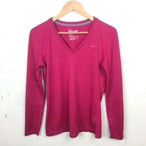 Nike Drifit V Neck Long Sleeve Pink Top Small